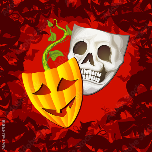 Theatrical Halloween Mask and Fashioned Background