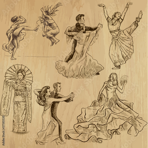 dancing people 1 - hand drawings into vector set