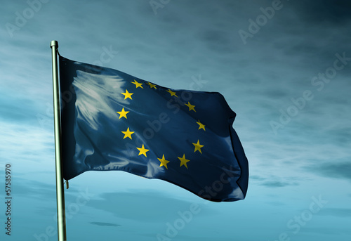 European Union flag waving in the evening