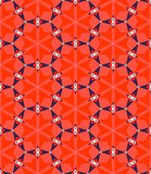 Multicolor geometric pattern in bright red.