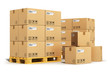 canvas print picture - Cardboard boxes on shipping pallets
