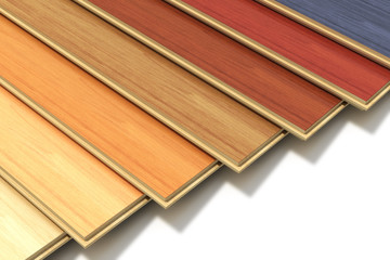 Set of color wooden laminated construction planks