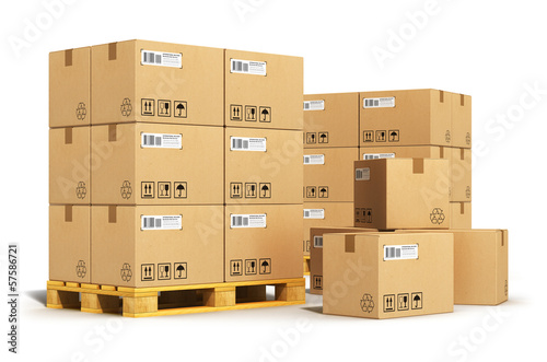 canvas print picture Cardboard boxes on shipping pallets