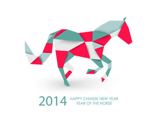 Chinese new year of the Horse abstract triangle illustration.