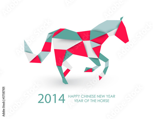 Poster Geometrische dieren Chinese new year of the Horse abstract triangle illustration.
