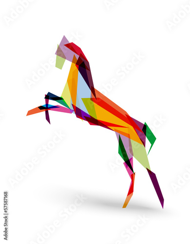 Poster Geometrische dieren Chinese new year of the Horse colorful triangle EPS10 file.