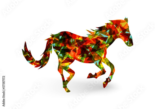Poster Geometrische dieren Chinese new year of the Horse abstract triangle EPS10 file.