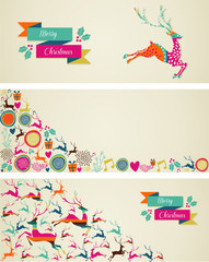 Merry Christmas elements template web banners set.