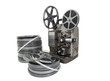 Vintage Movie Film Reels and Projector Isolated