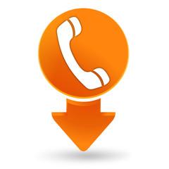 téléphone sur signet orange
