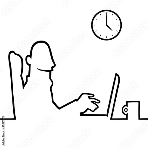 Black line art illustration of a man using a laptop or notebook.