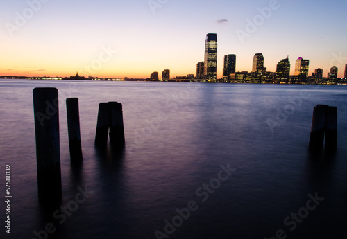 View of Jersey City from Battery park at sunset (Manhattan, New