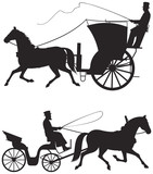 Horse taxicab vector silhouettes