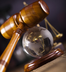 Gavel and globe
