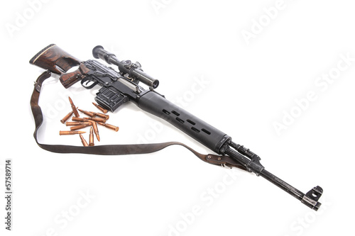 carbine with bullets isolated
