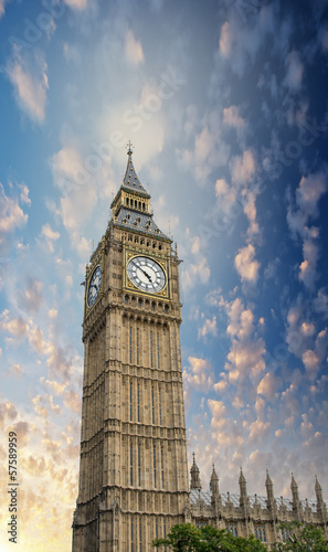 London. Magnificence of Big Ben Tower in the Westminster Palace