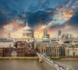 London. Beautiful aerial view of Millennium Bridge and St Paul C
