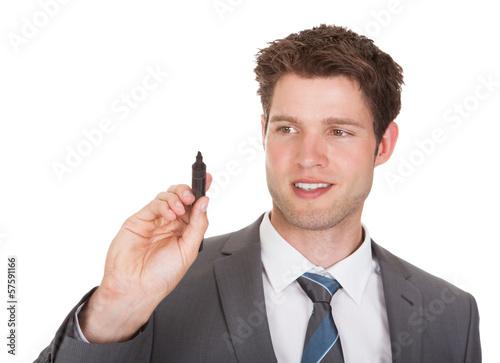 Businessman Holding Marker