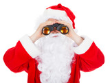 Close-up of santa looking in binocular