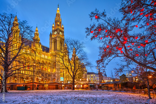 Leinwanddruck Bild Vienna town hall
