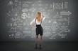 businesswoman look at Doodle finance business elements
