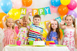 happy children celebrating birthday holiday