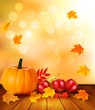 Autumn background with fresh fruit and leaves. Healthy Food. Vec