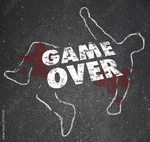 Game Over Body Chalk Outline Dead Person