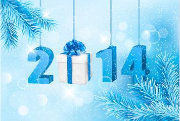 Happy new year 2014! New year design template. Vector illustrati