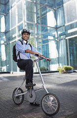 Businessman on Folding Bike