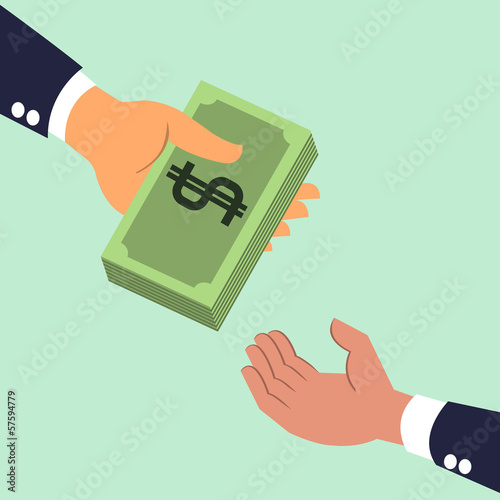 Businessman's hand giving money banknotes