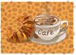 cappuchino cafe kaffee mit croissant