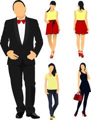 Man and women over white background. Vector illustration
