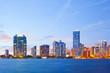 City of Miami Florida, colorful night panorama