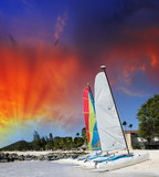 Sailing boats on the beach. Beautiful caribbean island scenario poster