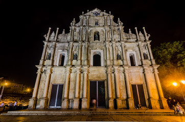 Ruins of St. Paul's Cathedral at night, Macau