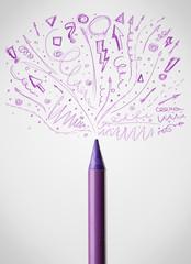 Crayon close-up with sketchy arrows