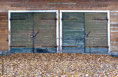 Garage doors  in autumn