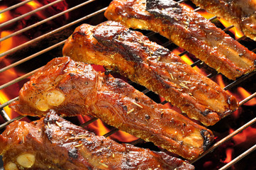grilled pork spare ribs on the grill.