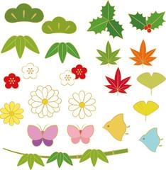 和風の草花や生き物の素材