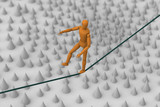 Puppet trying to balance and walk on string across spike field