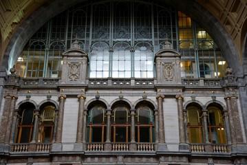 Facade indoors of the railway station of Antwerp