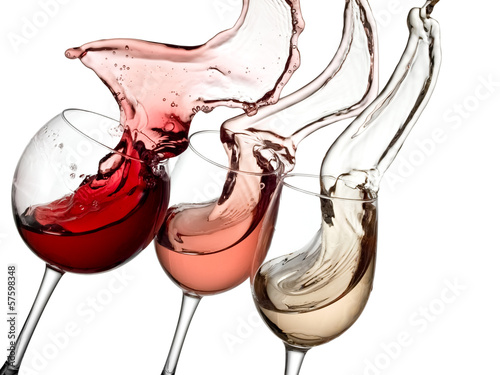 Red, white and rose wine up - 57598348