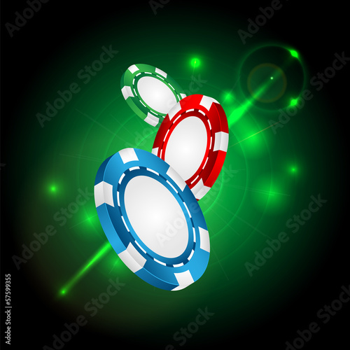 casino background.casino chips on a green flickering background.