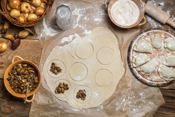 Preparing to cook homemade dumplings