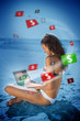 Brunette woman in bikini gambling online in blue light