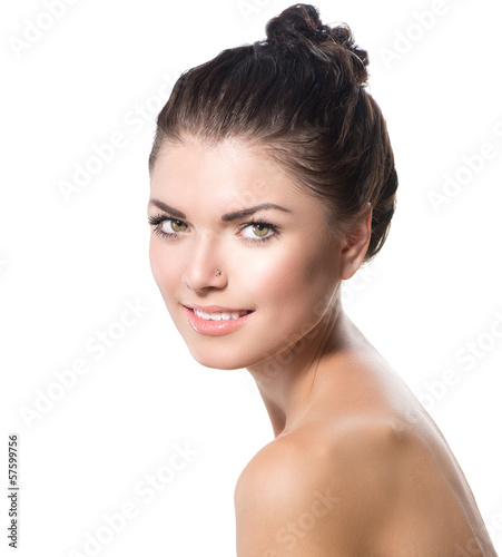 Beauty Portrait. Beautiful Spa Girl Face. Perfect Fresh Skin
