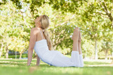 Attractive fit woman stretching