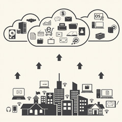Cloud computing and Data management Concept