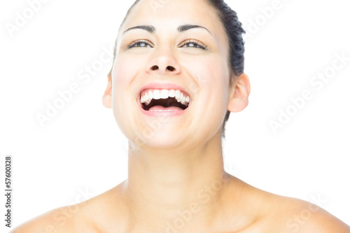 Front view of pretty woman laughing